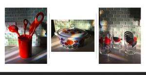kitchen utensils, casserole dish, drinking glasses
