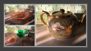 glass dishes and teapot